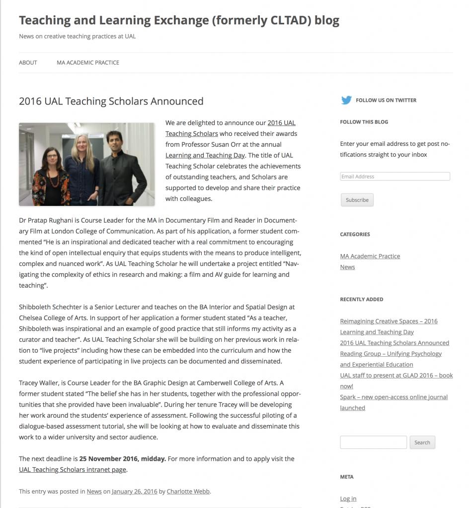 New UAL Teaching Scholars 2016 Announced