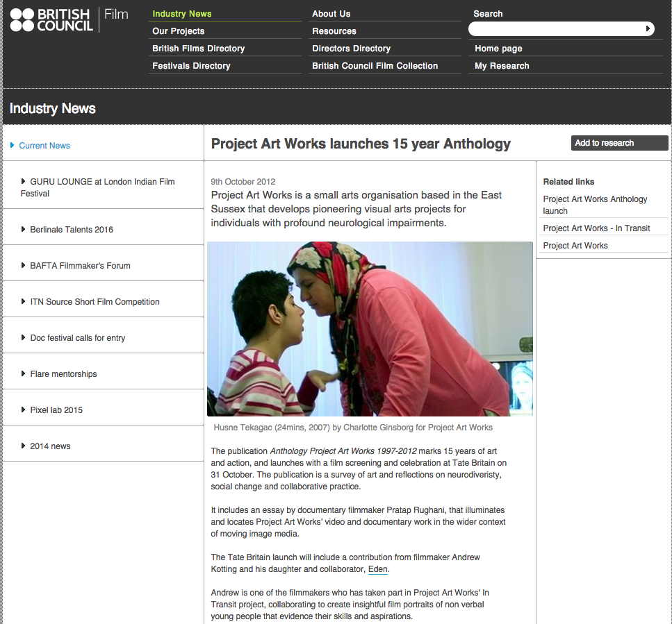 British Film Council article Project Art Works
