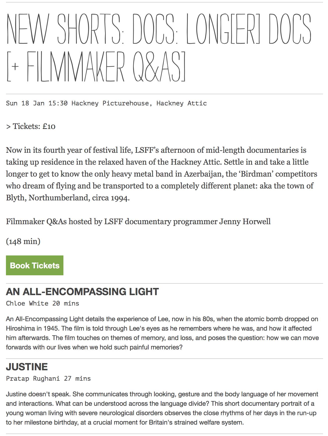 """Justine"" screening at the London Short Film Festival 18 January 2015"