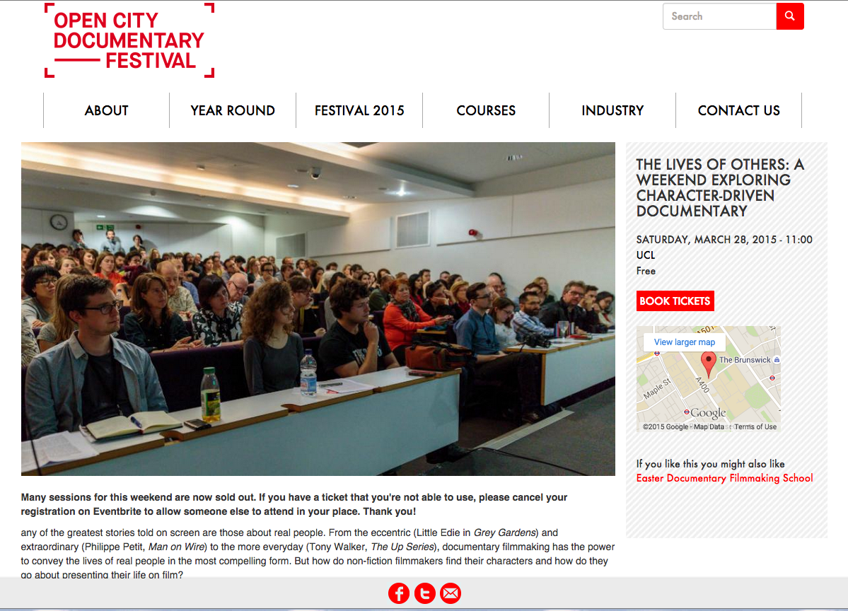 Open City Doc Fest: the Lives of Others: a weekend exploring character driven documentary Sat 28 & Sun 29 March 2015 at UCL