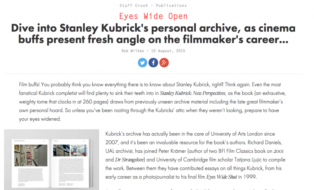 """""""We Heart"""" Kubrick book review by Rob Wilkes"""