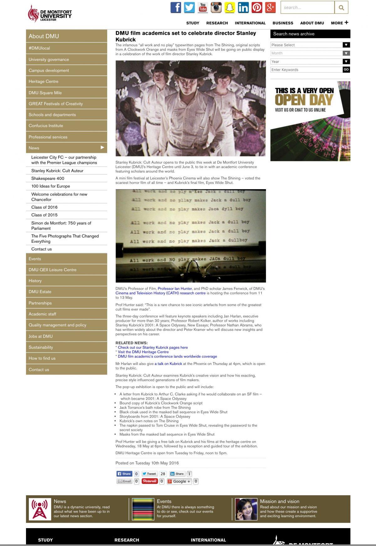 Stanley Kubrick: A Retrospective 11 – 13 May 2016 De Montfort University, Leicester