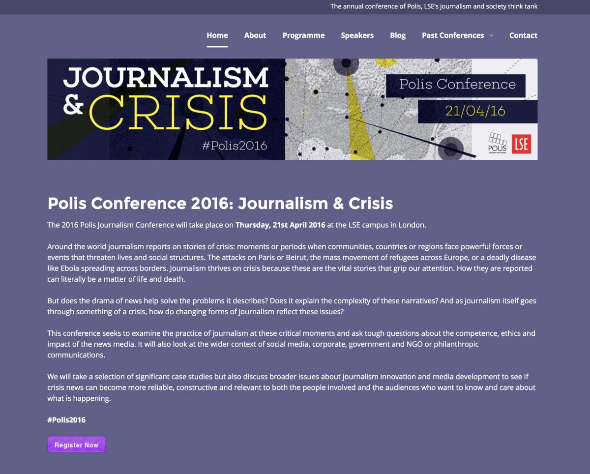 Journalism & Crisis Conference POLIS 2016