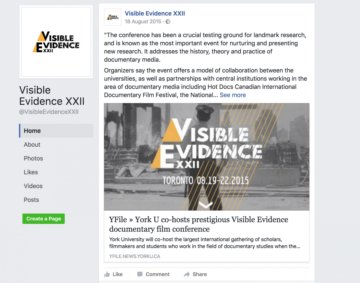 Visible Evidence XXII 19 – 23 August 2015 Toronto, Canada