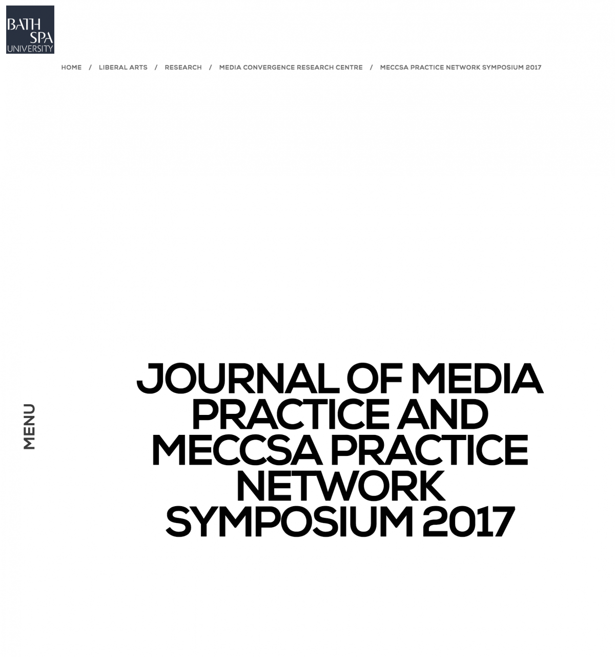 The Journal of Media Practice & MECCSA Practice Network Symposium 8 June 2017