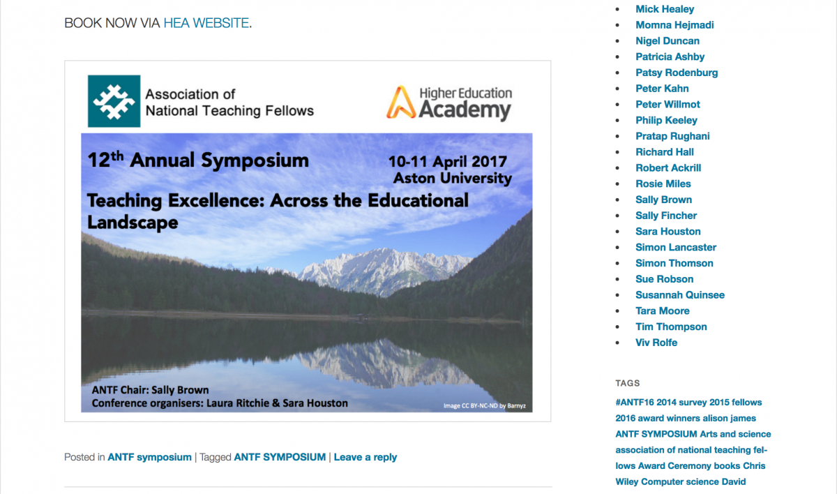 National Teaching Fellows' Symposium – National Organising Committee 2017