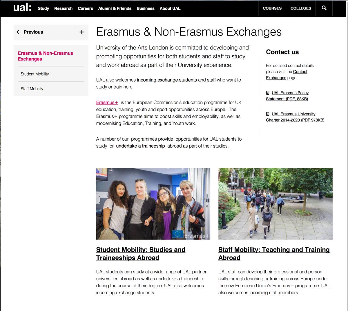 UAL ERASMUS exchange 2017
