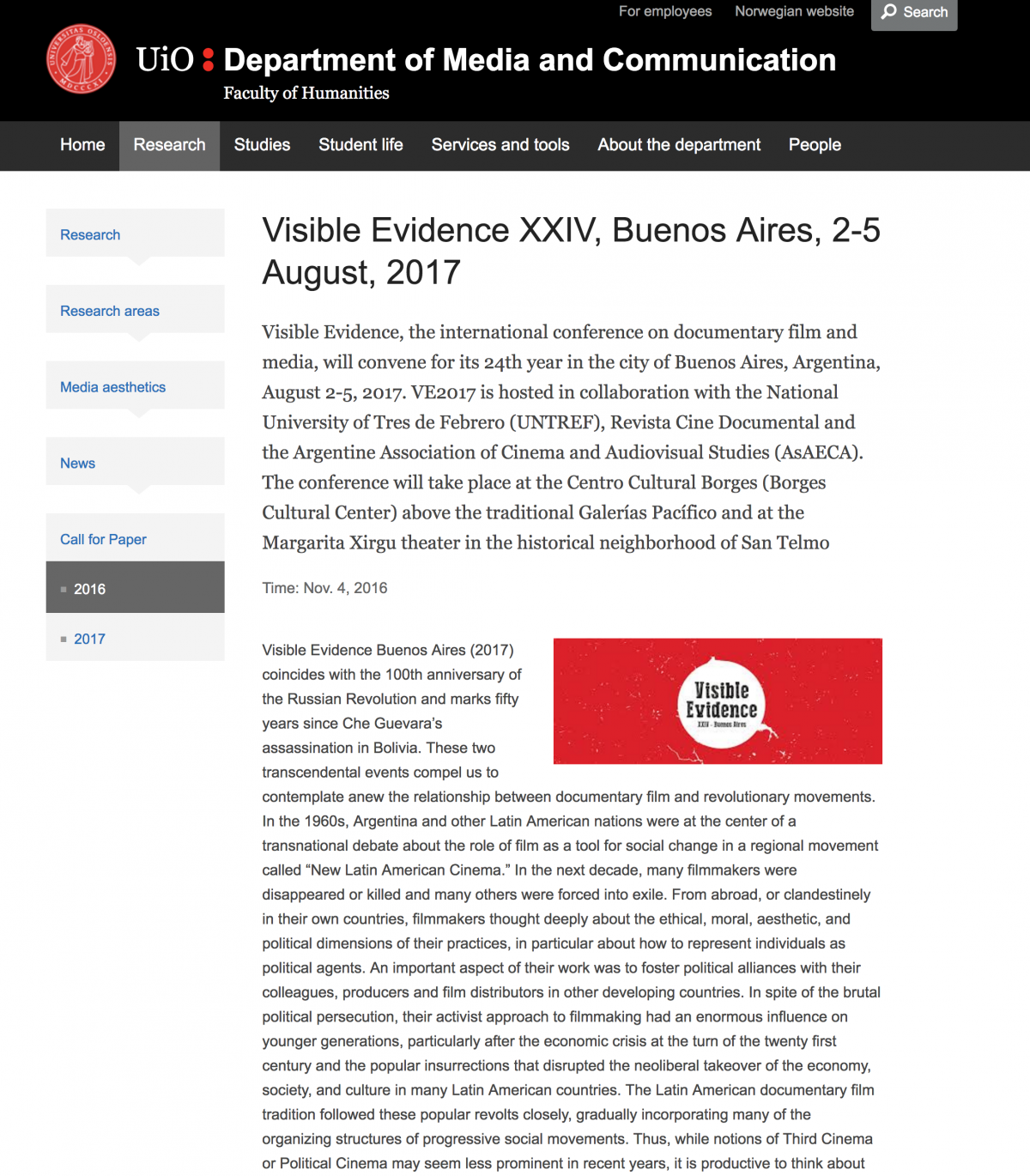 Visible Evidence XXIV Buenos Aires   2 –  5   August 2017
