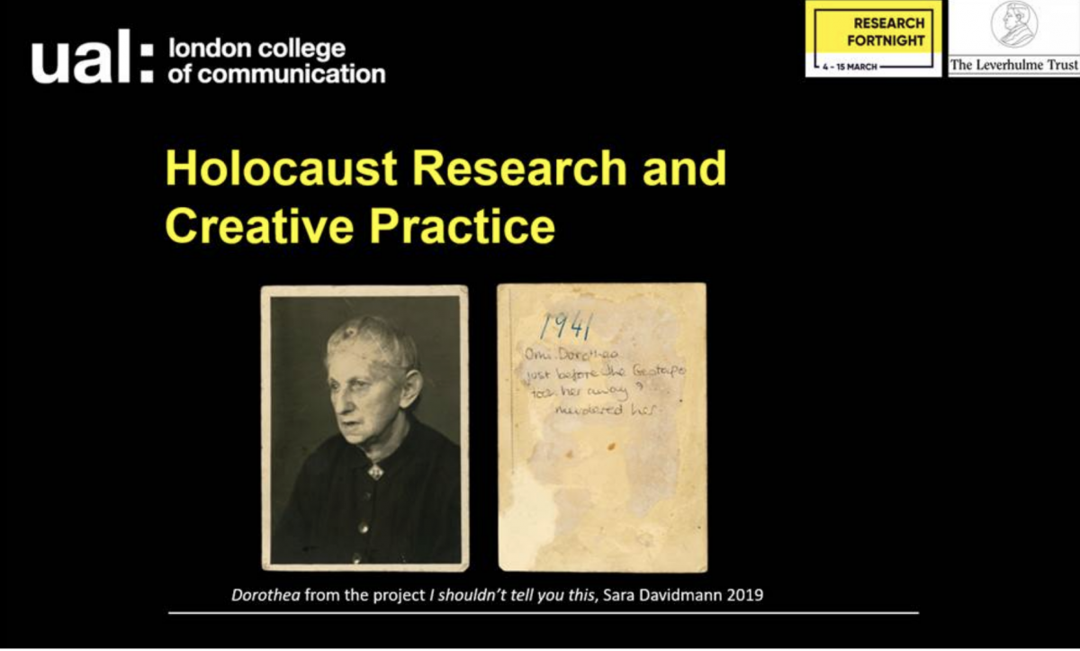 LCC Research Fortnight: Holocaust Research and Creative Practice 11 Mar 2019