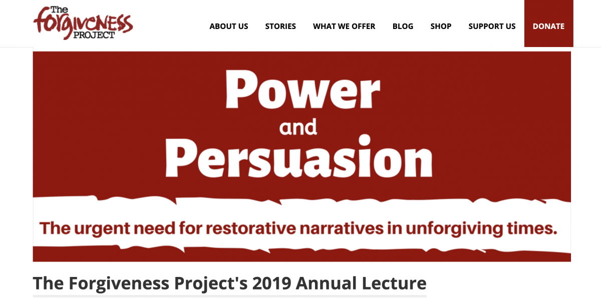 The Forgiveness Project's Annual Lecture 12 November 2019